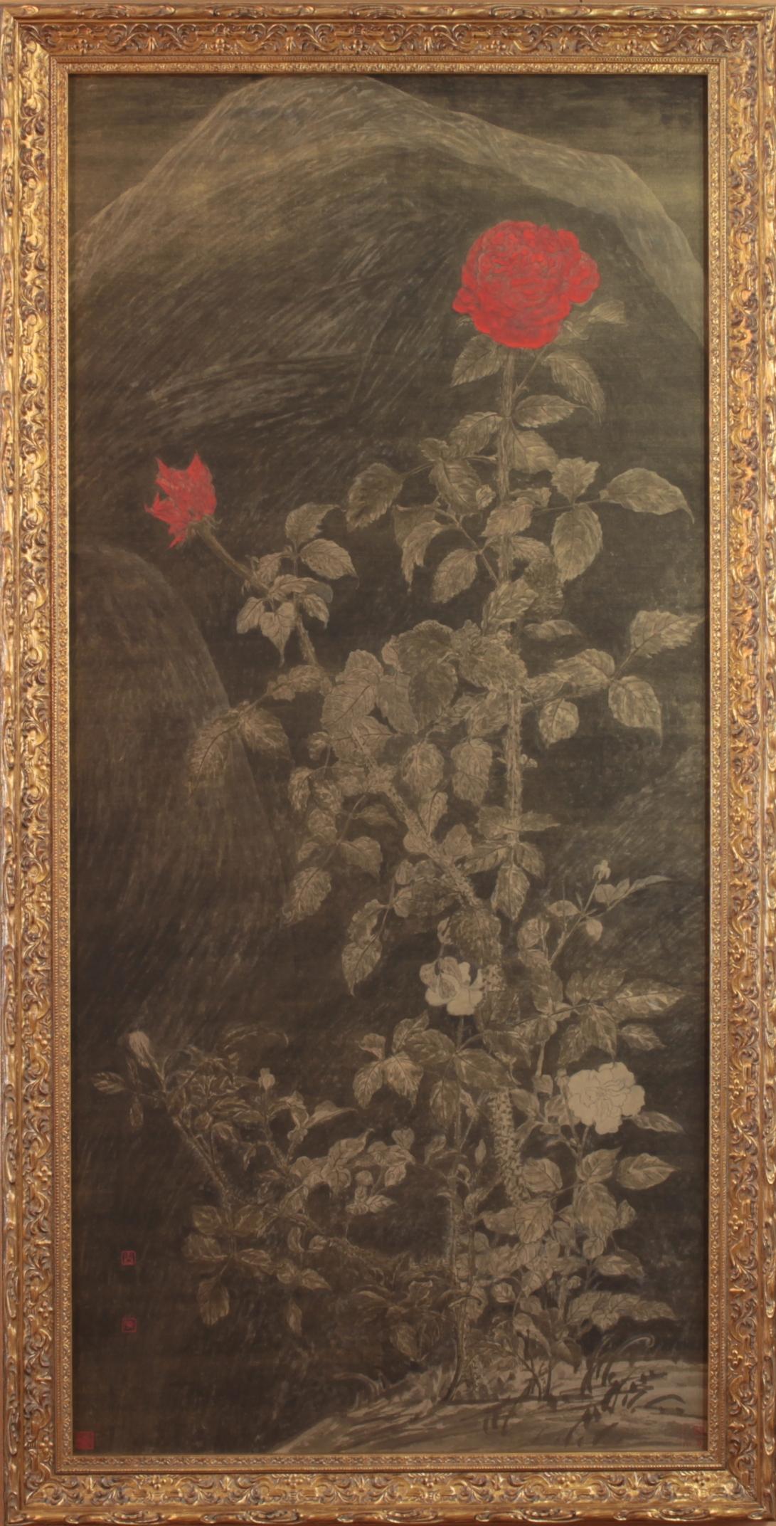 51 紅玫瑰與白玫瑰 2015 水墨、泥金宣 101x47cm(5.2才)