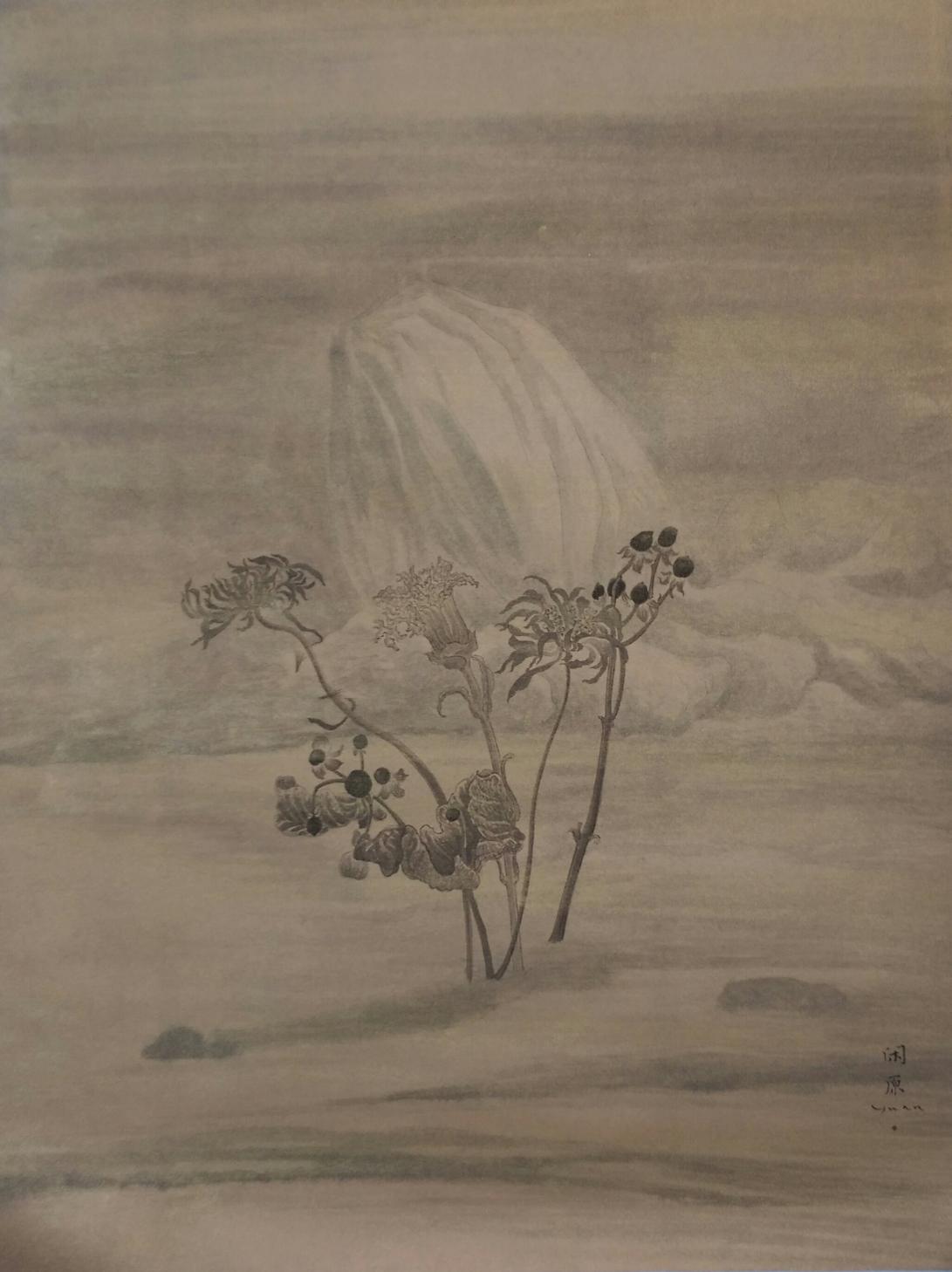 56山水.花 (4)2016水墨、泥金宣 54x41 cm(2.5才)