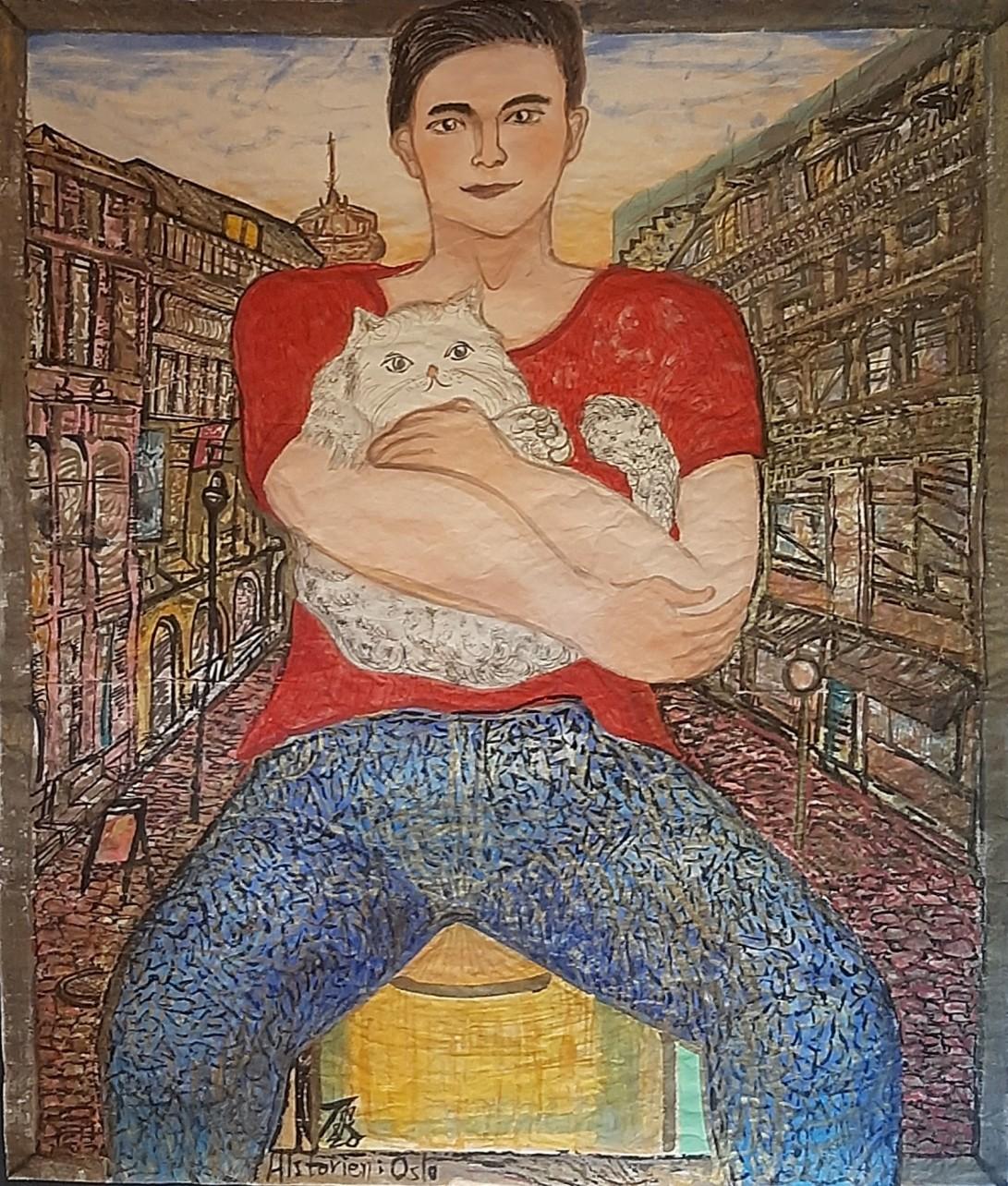 01 Mannen og katten hans, 157cmx134cm papir og vann-besert pigment