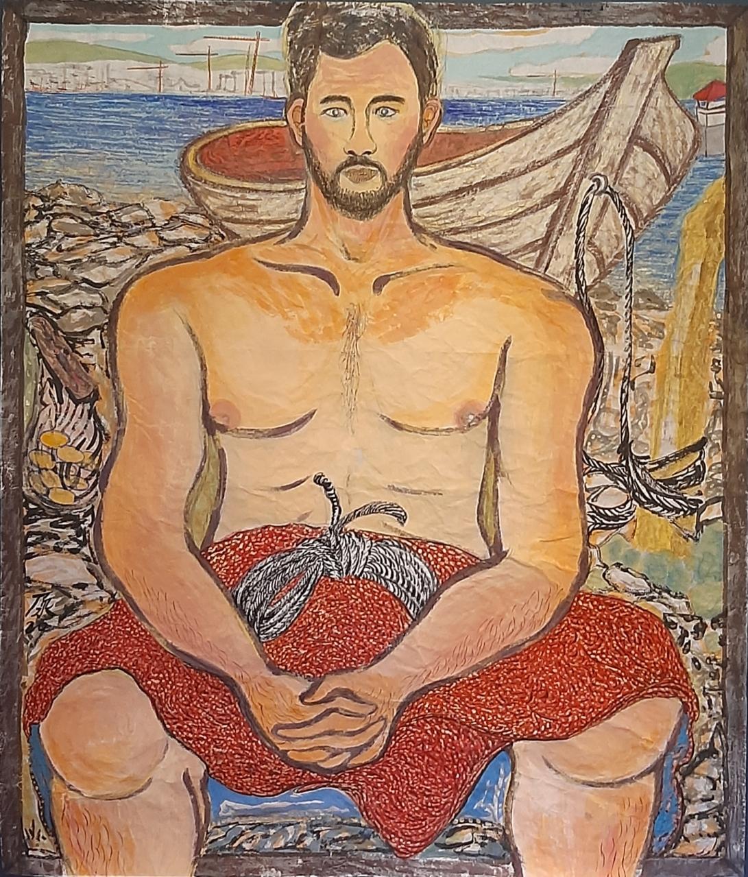 02 Mannen og båten hans, 157cmx134cm papir og vann-besert pigment