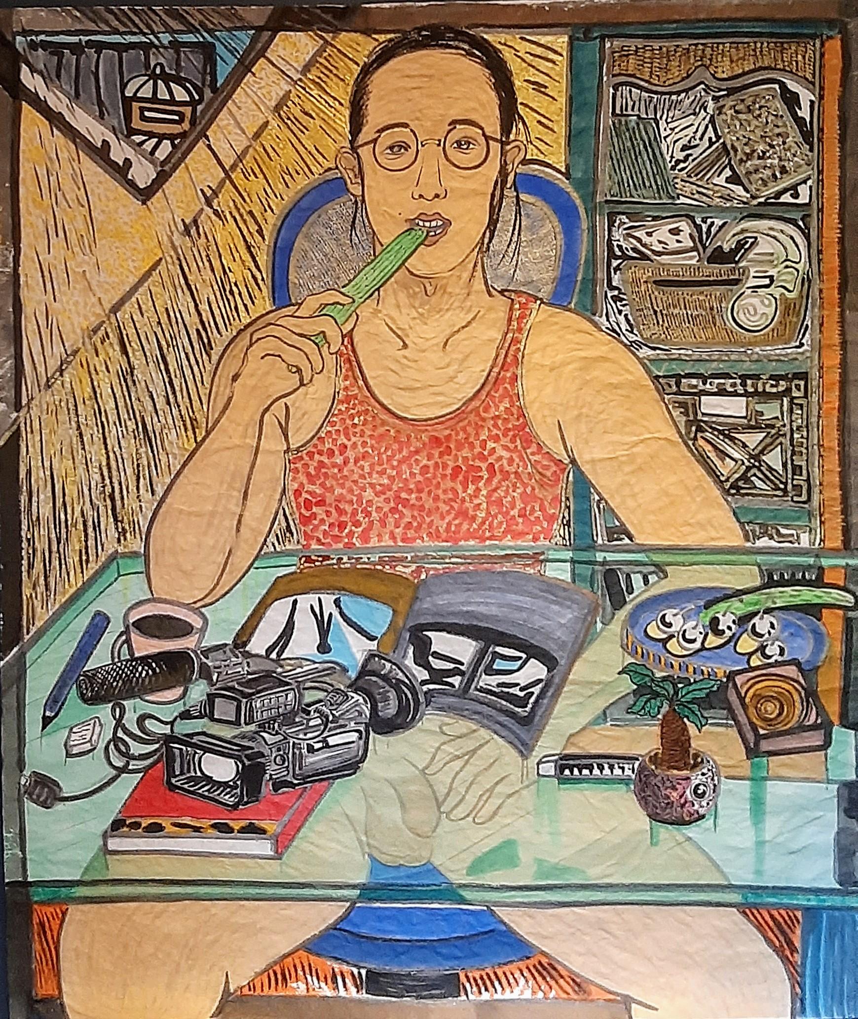 03 Mannen og hjemmekontoren hans, 157cmx134cm papir og vann-besert pigment