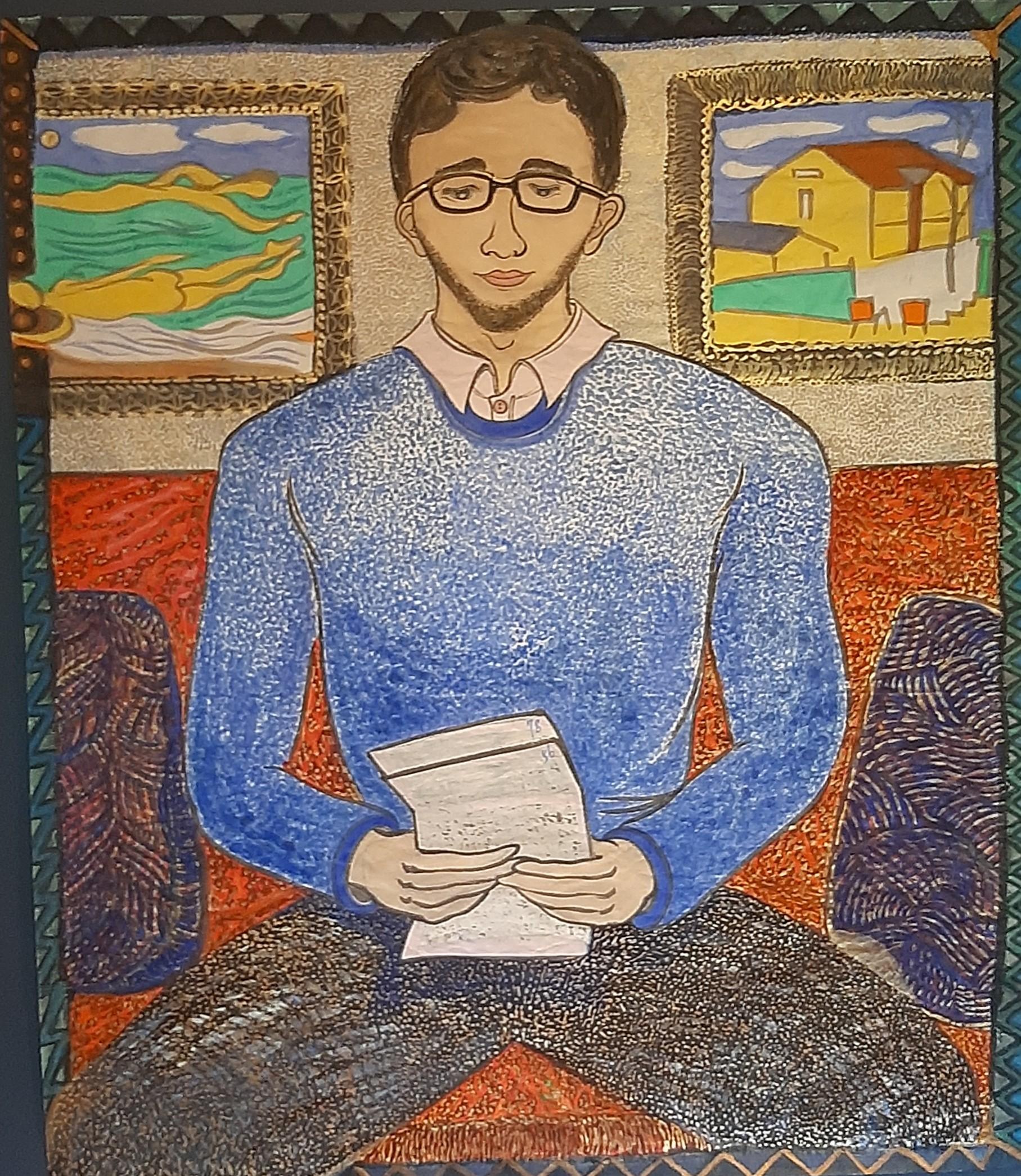 04 Mannen og brevet hans, 157cmx134cm papir og vann-besert pigment